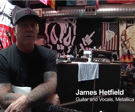 "James Hetfield of Metallica ""Reviews"" Meyer MJF-210"